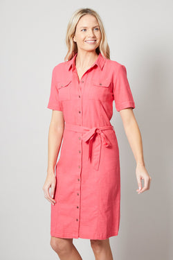 Lily and Me shirt dress, watermelon, front view