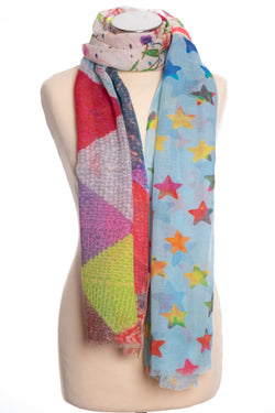 Kapre Boho style scarf, multi colour, tied view
