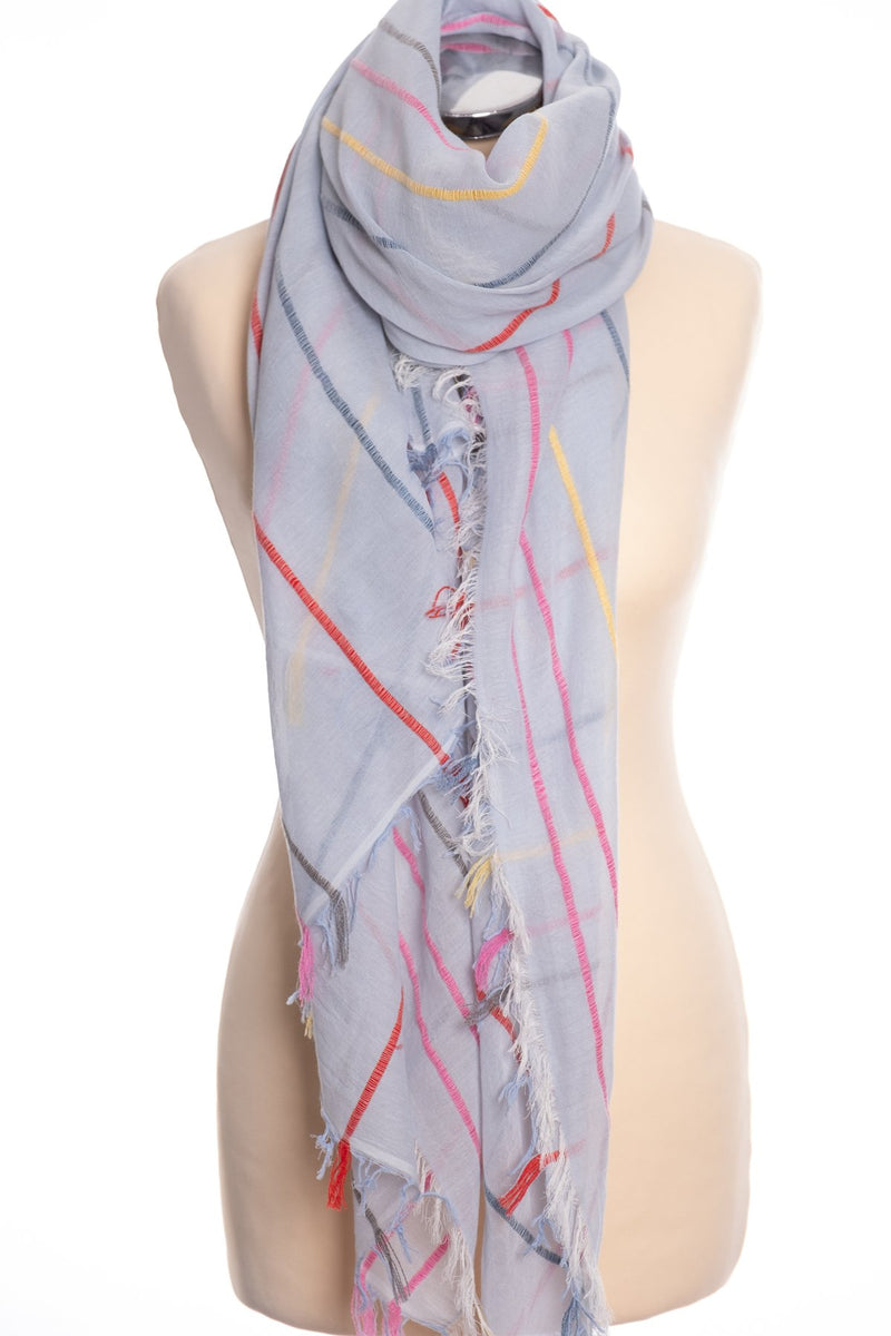 Ombre woven stripe scarf, blue, tied view