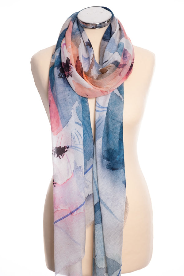 Ombre anemone design scarf, pink, tied view