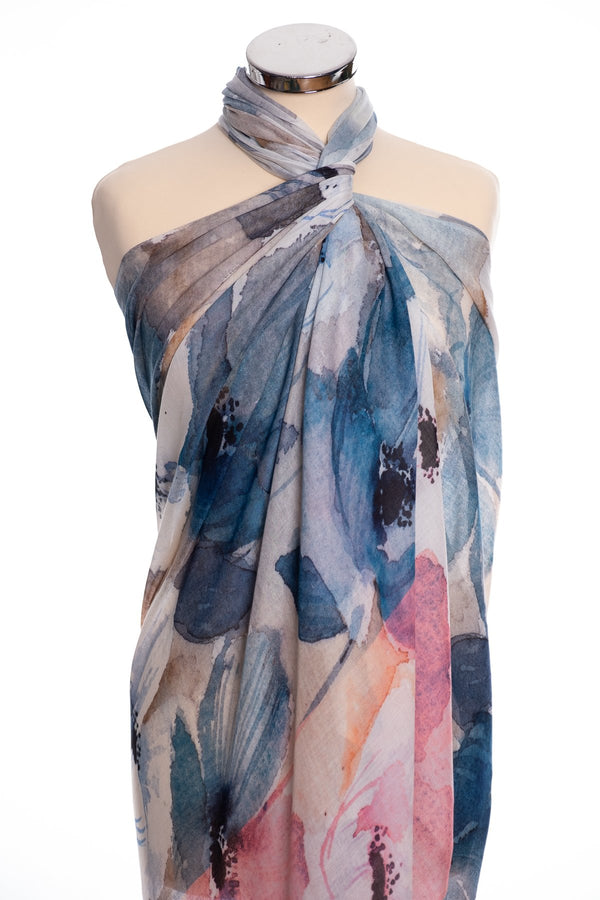 Ombre anemone design scarf, pink, wrap view
