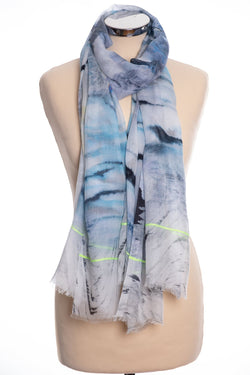 Ombre watery design scarf, blue, tied view