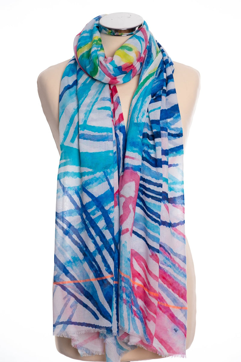 Ombre palm frond scarf, blue, tied view