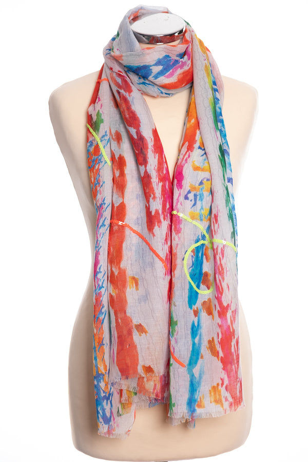 Ombre abstract scarf, multi colour, tied view