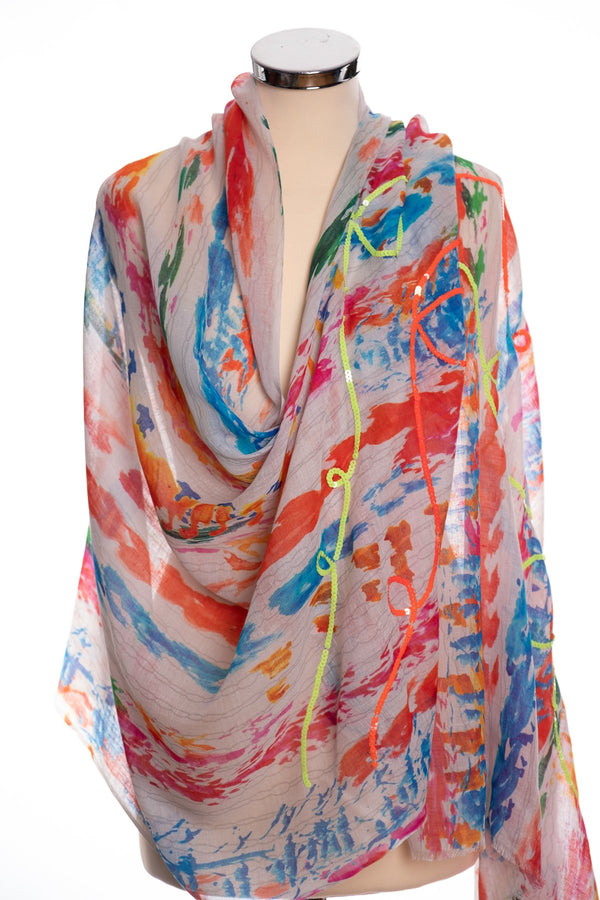 Ombre abstract scarf, multi colour, wrap view