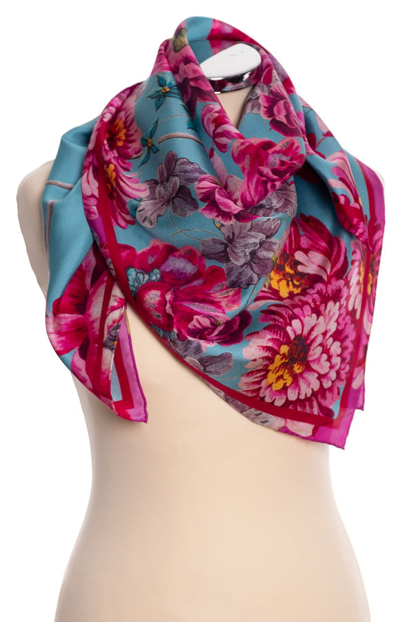 P. J. Studios baroque floral square silk scarf, teal