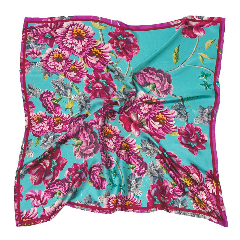Baroque floral silk scarf, teal