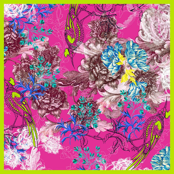 Botanical design silk scarf, fuschia