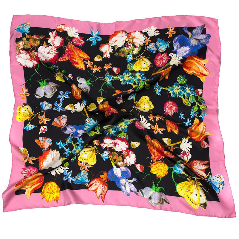Tulips and butterflies scarf, pink