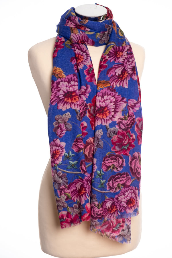 P. J. Studios Baroque floral scarf, blue, tied view