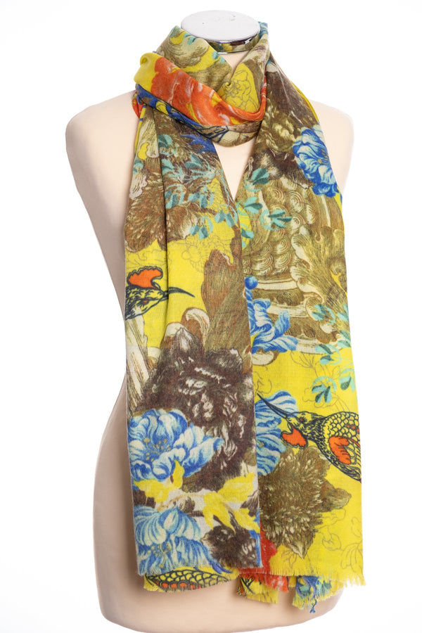 P. J. Studios Botanical design scarf, yellow, tied view