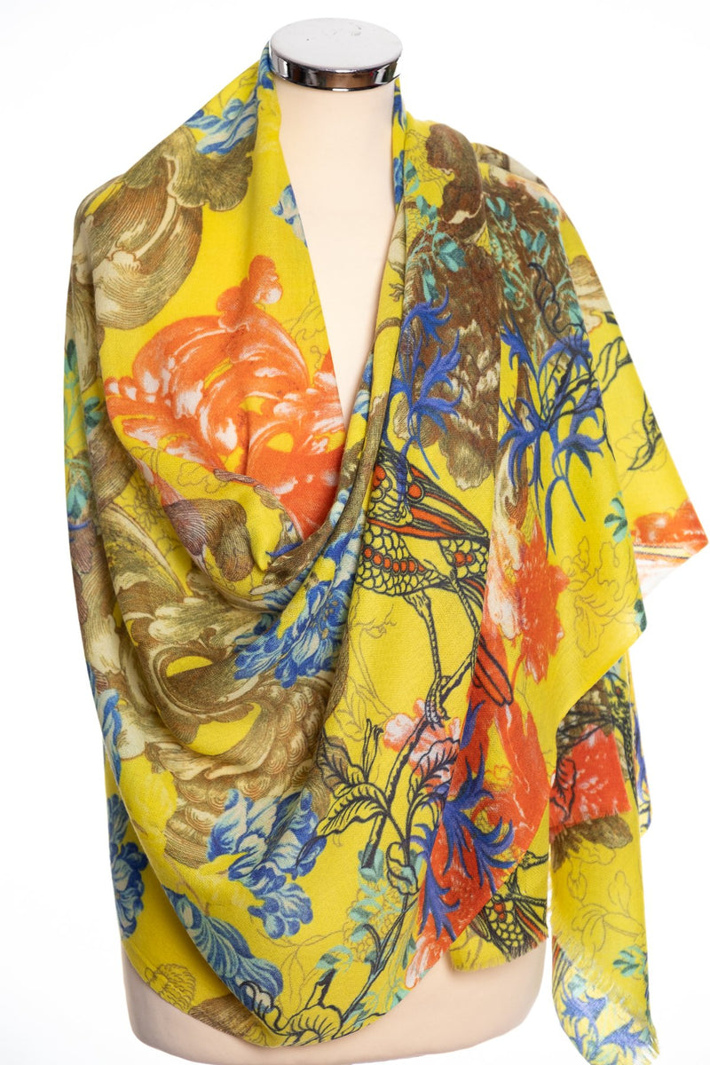 P. J. Studios Botanical design scarf, yellow, wrap view