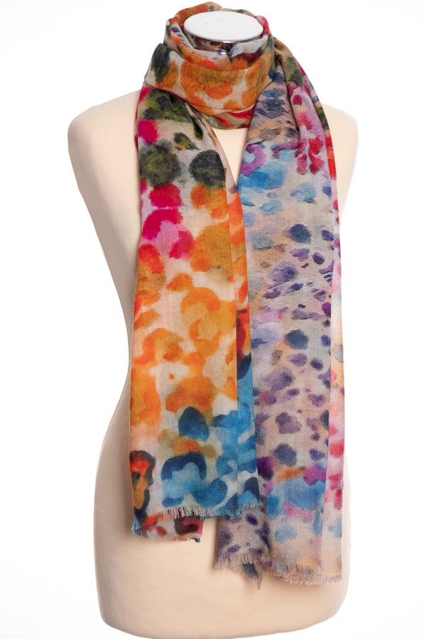 Kapre Abstract animal print scarf, multi colour, tied view