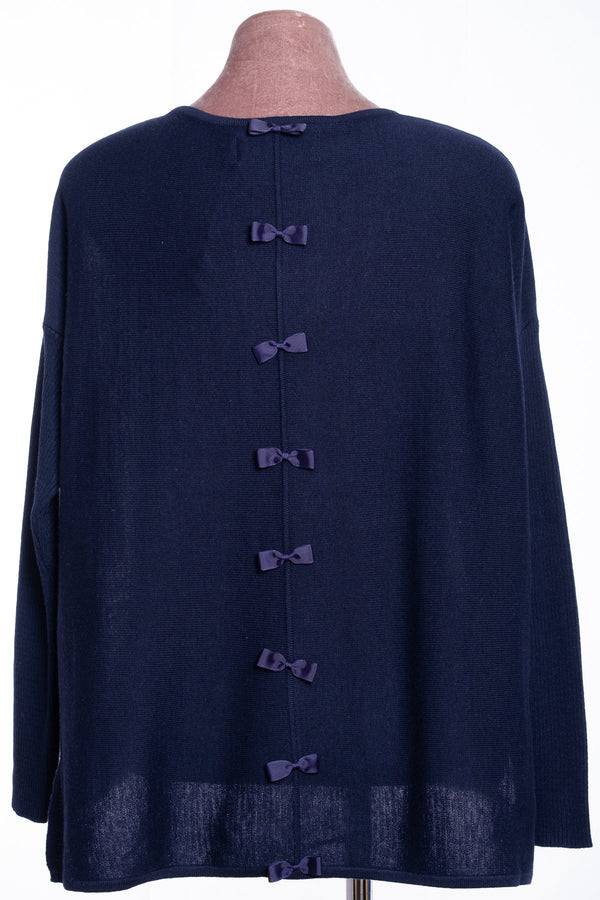 Ginger Toby bow backed jumper, navy, rear view