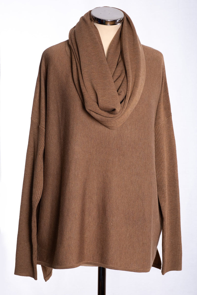 Ginger Toby bow backed jumper, camel, view with snood