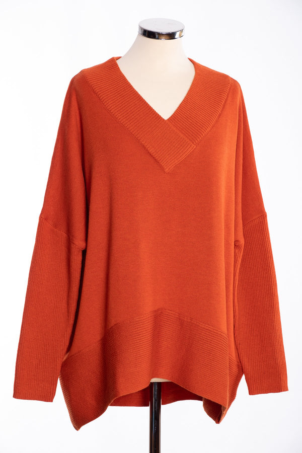 Joss ribbed V Jumper, burnt orange, front view
