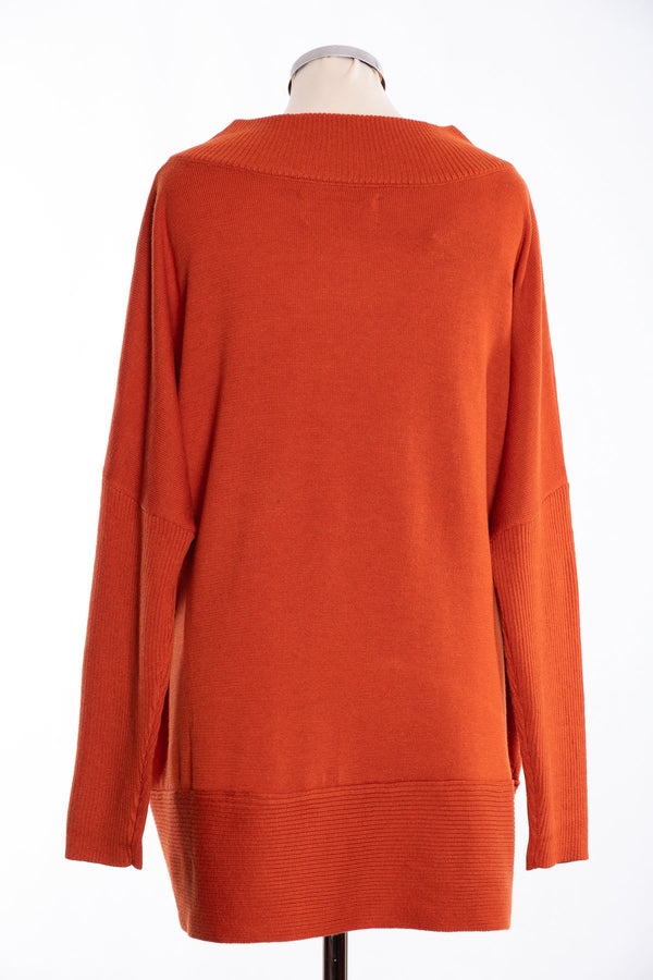 Joss ribbed V Jumper, burnt orange, rear view