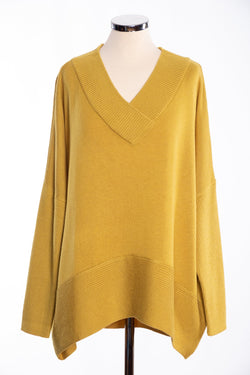 Joss ribbed V Jumper, mustard, front view