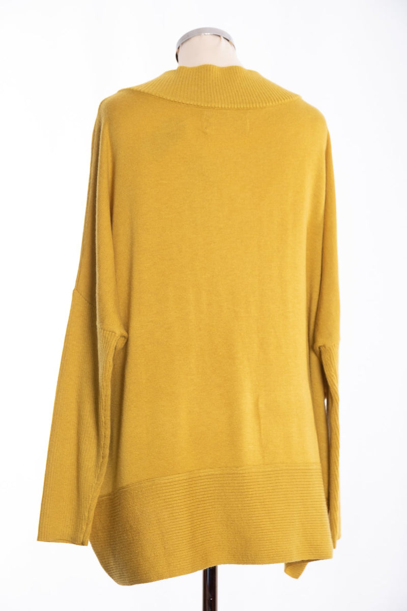 Joss ribbed V Jumper, mustard, rear view