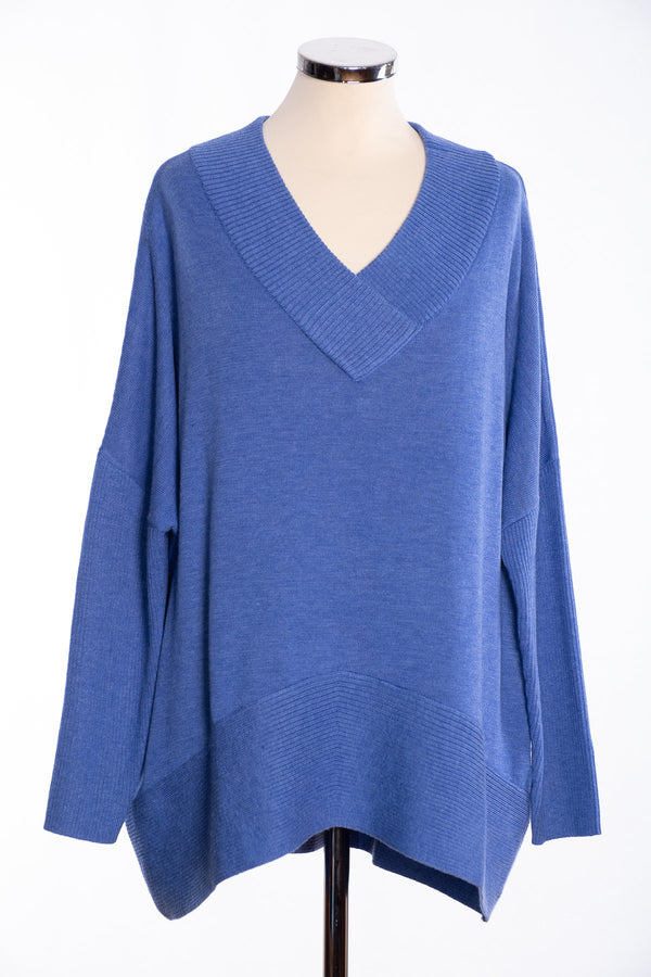 Joss ribbed V Jumper, blue, front view
