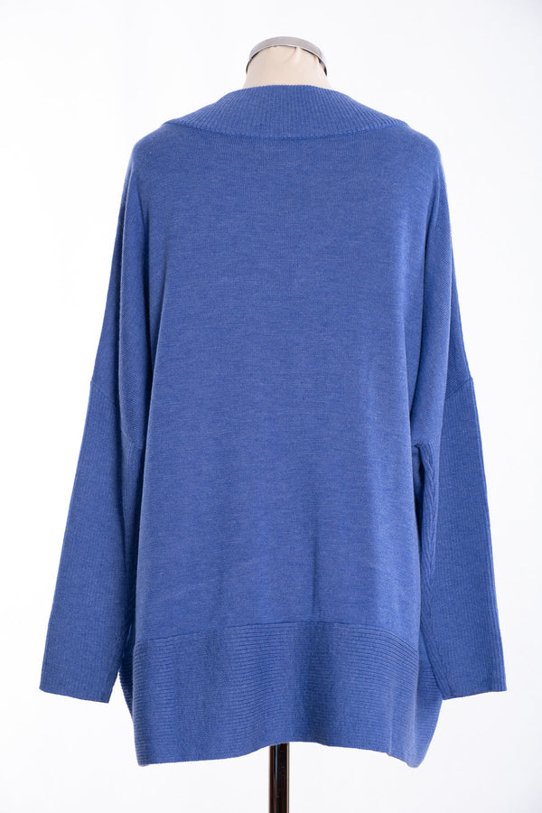 Joss ribbed V Jumper, blue, rear view