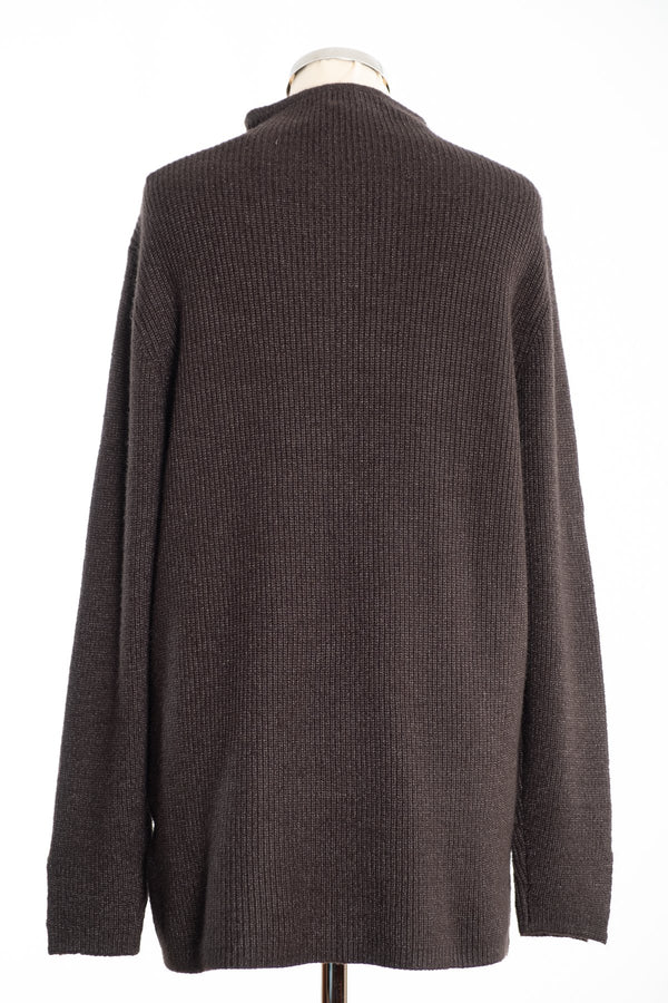 Joss turtle neck jumper, khaki, rear view