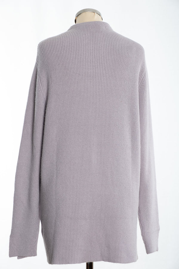 Joss turtle neck jumper, silver, rear view