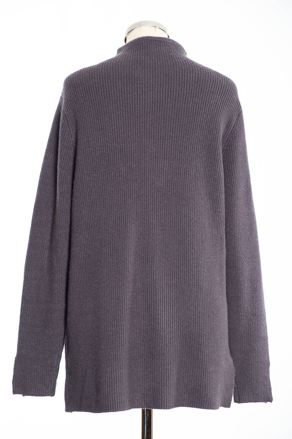 Joss turtle neck jumper, charcoal, rear view