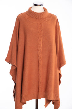 Joss cable knit poncho, toffee, front view