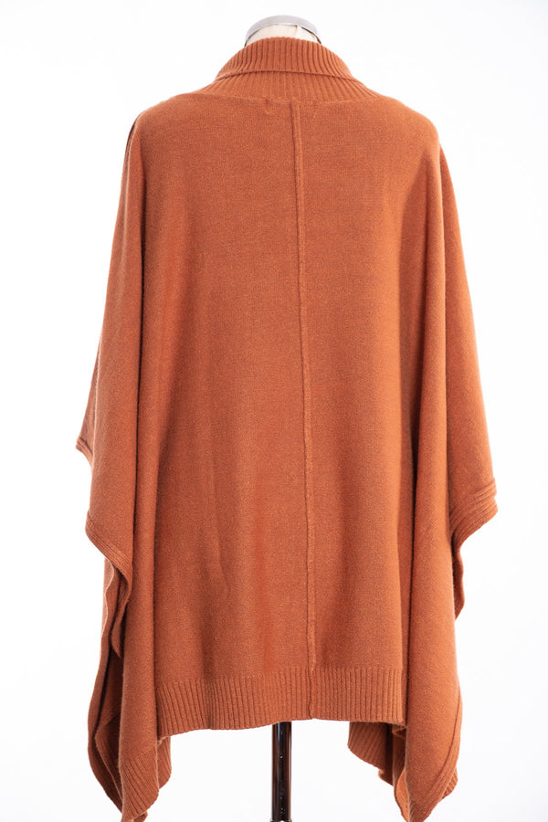 Joss cable knit poncho, toffee, rear view