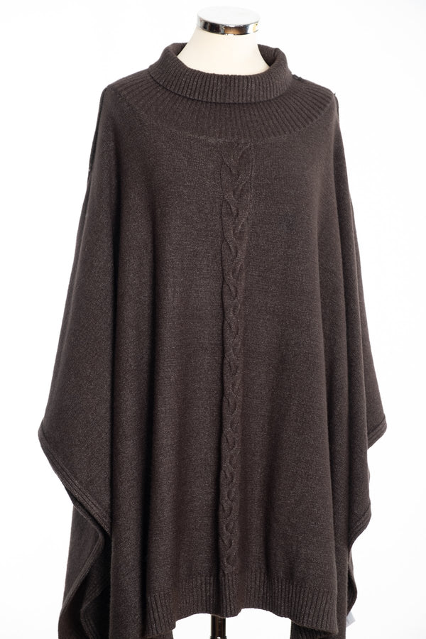 Joss cable knit poncho, khaki, front view