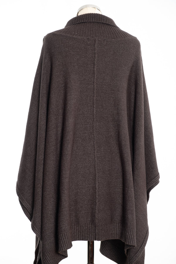 Joss cable knit poncho, khaki, rear view