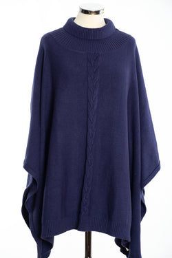 Joss cable knit poncho, navy, front view