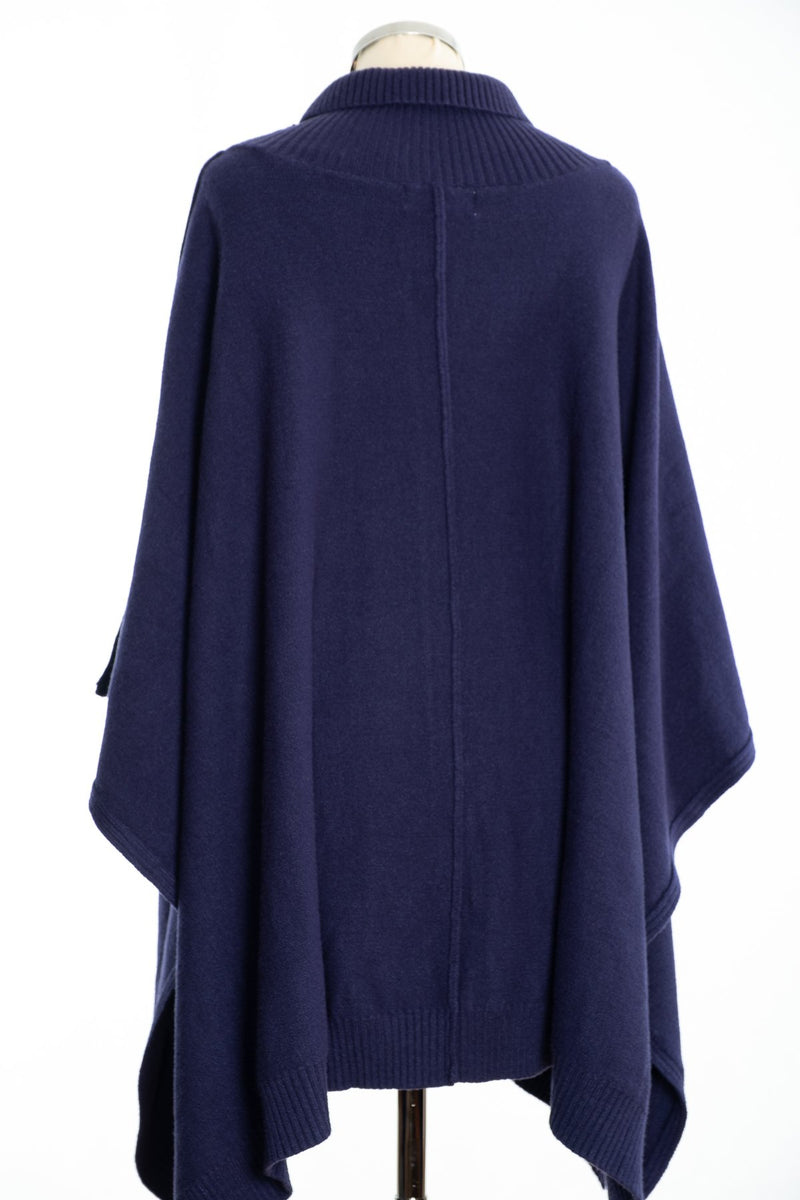 Joss cable knit poncho, navy, rear view