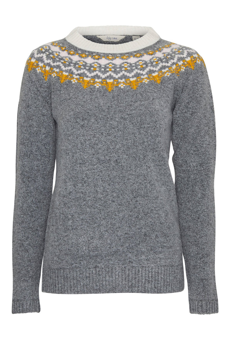 Lily and Me fairisle jumper, grey, front view
