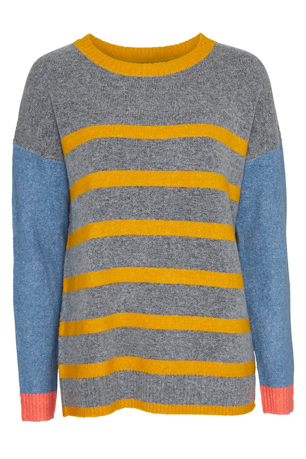 Lily and Me stripe jumper, grey, front view