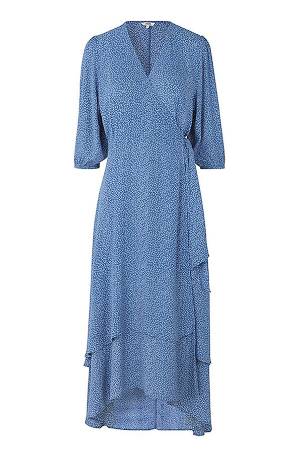 mbyM Bibbi wrap dress, blue, front view