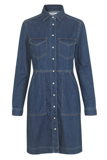 mbyM Akira shirt waister dress, blue, front view
