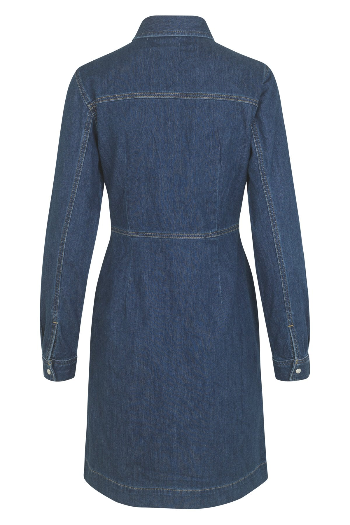 mbyM Akira shirt waister dress, blue, rear view