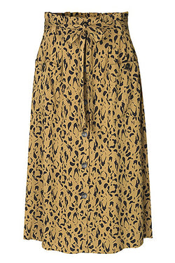 mbyM Noria button through skirt, brown, front view