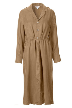 mbyM Veronica shirt dress, brown, front view