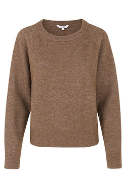mbyM Ressie alpaca jumper, brown, front view