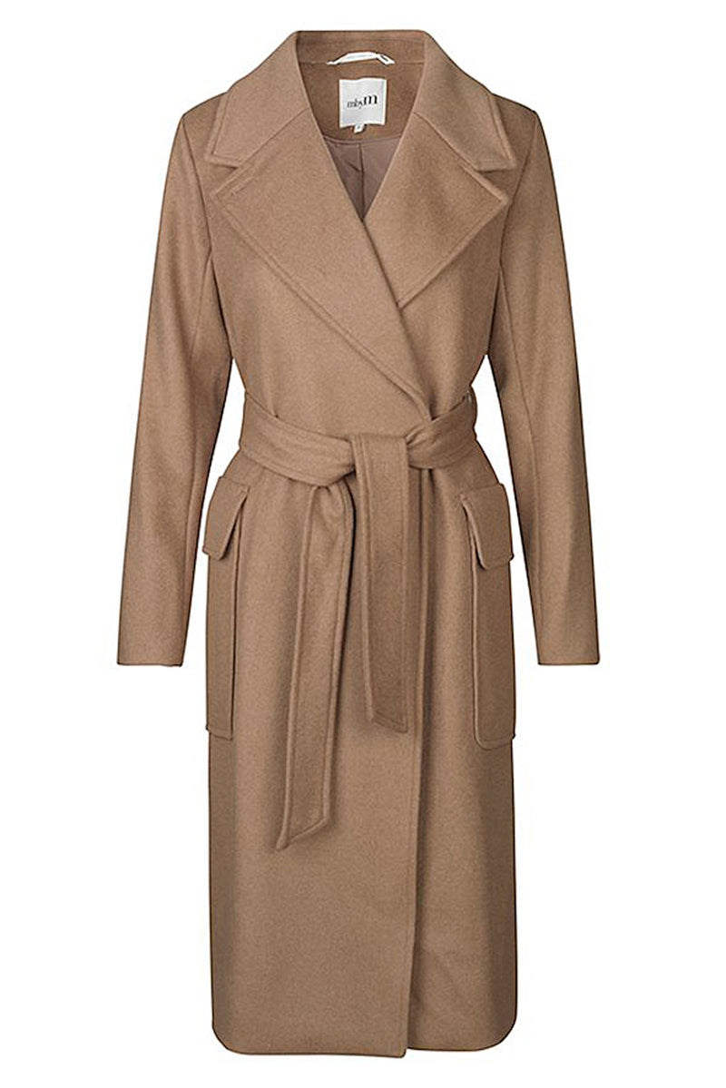 mbyM Toby trench style coat, brown, front view