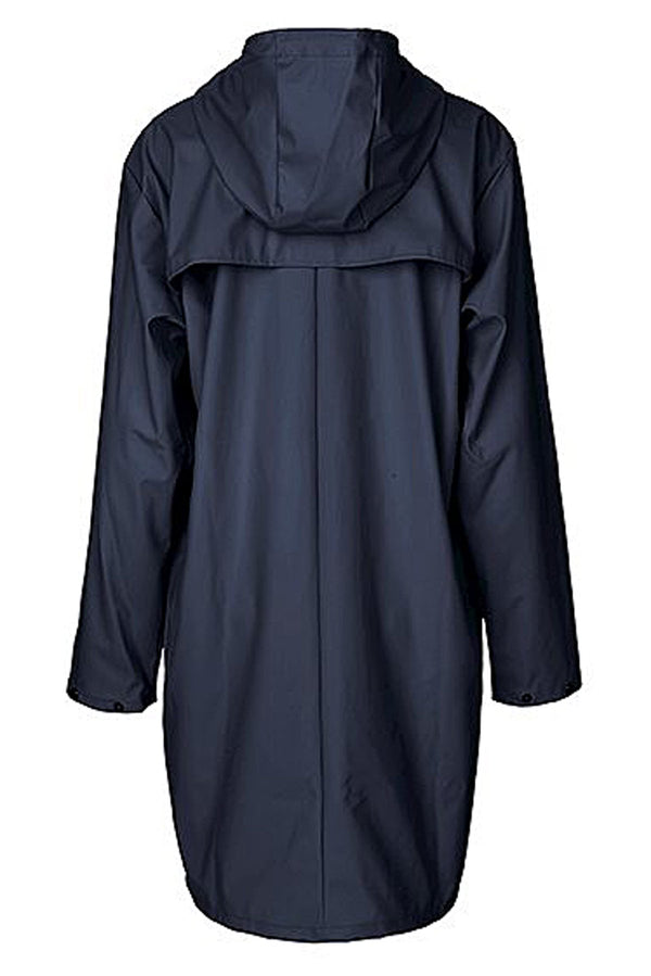 mbyM Fabiola waterproof raincoat, navy, rear view
