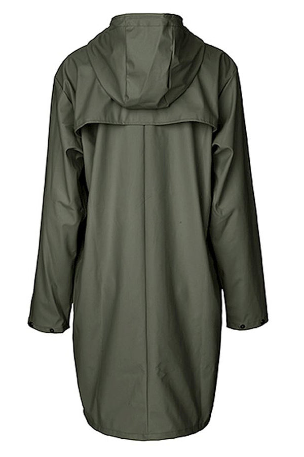mbyM Fabiola waterproof raincoat, green, rear view