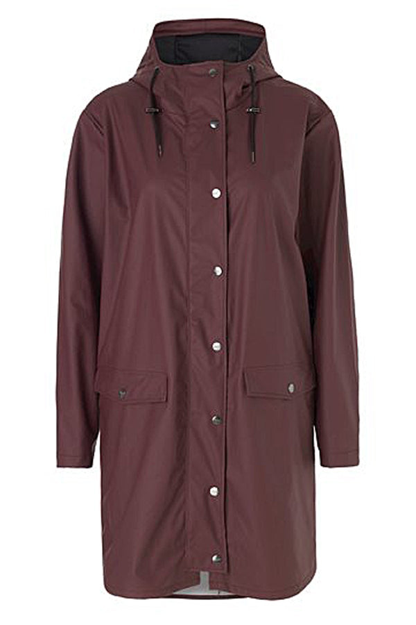mbyM Fabiola waterproof raincoat, wine, front view