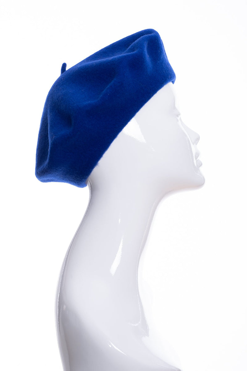 Kopka merino wool classic beret, royal blue, side view
