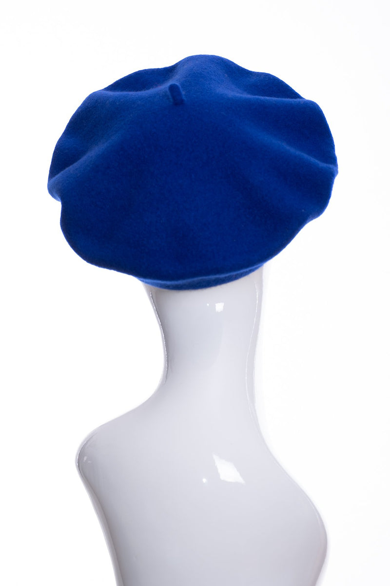 Kopka merino wool classic beret, royal blue, rear view