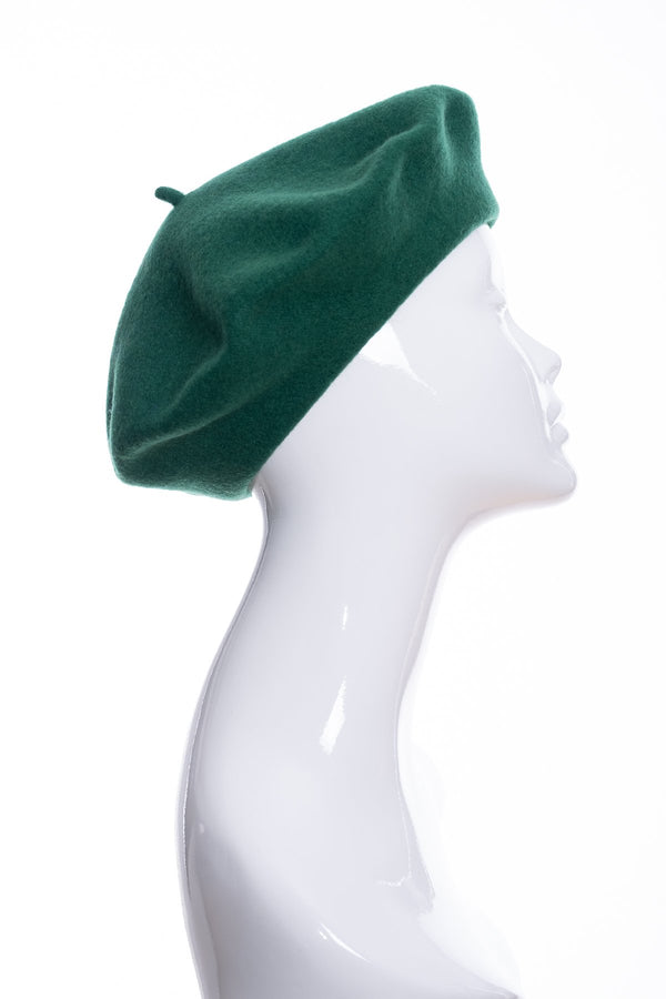 Kopka merino wool classic beret, emerald, side view