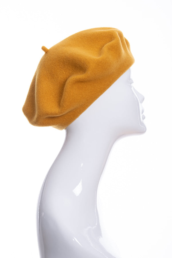 Kopka merino wool classic beret, gold, side view